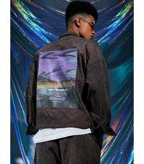 chaqueta de diseño de botones con estampado gráfico de distorsión digital estilo hip hop para hombre