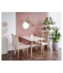 conjunto de mesa de jantar adele com tampo de vidro off white e 4 cadeiras estofadas laura suede nude e madeira