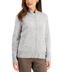 karen scott zippered mock-neck sweater, created for macy's