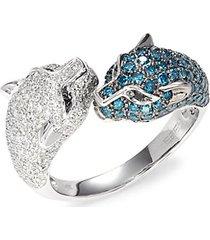 14k white gold & white & blue diamond double panther ring