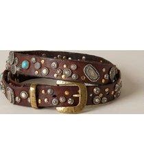 sundance catalog women's sesasi studded belt in dk brown xs