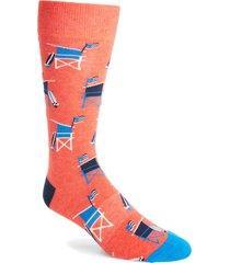 men's fun socks lifeguard socks, size one size - red