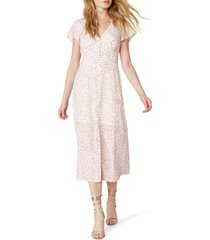 women's bb dakota by steve madden heavy petals artsy confetti midi dress, size 6 - ivory