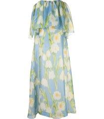 carolina herrera floral-print off-shoulder gown - blue