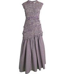 asymmetric gingham drop-waist dress