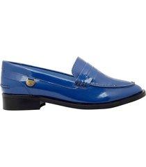 zapatos oana azul metalico mh mocs
