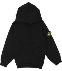 stone island black cotton logo embroidered hoodie