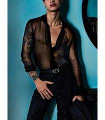 hombres transparente sexy night club party manga larga camisa