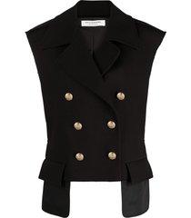 philosophy di lorenzo serafini black cotton-virgin wool blend gilet