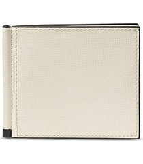 simple grip spring leather wallet - white
