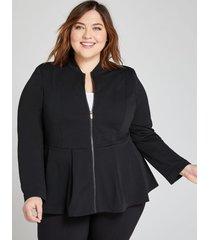 lane bryant women's zip-front peplum jacket 24 black
