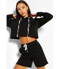 korte hoodie en shortset, zwart