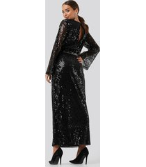 na-kd party trumpet sleeve sequin dress - black