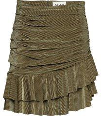 striped velvet skirt kort kjol grön maud