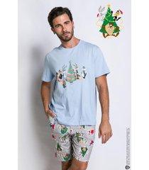 pijama manga curta acuo pijama manga curta cinza - cinza - masculino - dafiti