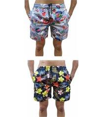 kit 2 bermuda short moda praia estampada love boca e estrela