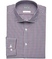 michael kors men's purple wine & navy check slim fit dress shirt - size: 18 32/33