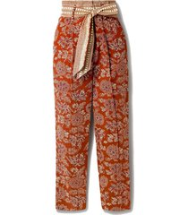 clerence belted printed cotton-blend poplin straight-leg pants