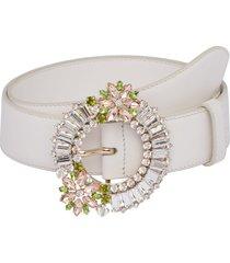 miu miu crystal-embellished belt - white