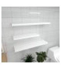 kit 3 prateleiras banheiro em mdf sup. inivisivel branco 1 60x20cm 2 90x20cm modelo pratbnb34