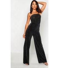 strapless wide leg sparkle jumpsuit, black