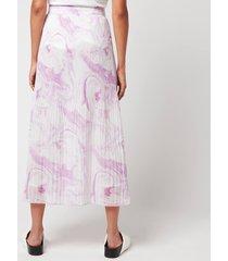 ganni women's pleated georgette skirt - orchid bloom - eu 40/uk 12