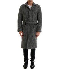 saint laurent belted overcoat in wool twill