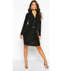zwangerschaps stretch blazer jurk met pailletten, black