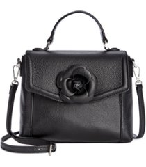 giani bernini 3d floral top handle leather satchel, created for macy's