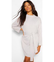 high neck belted sweater dress, silver