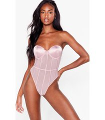 womens mesh work it out satin high-leg bodysuit - mauve