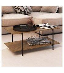 mesa central artesano com 2 prateleiras base em aço vermont