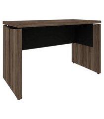 mesa de escritório land nogal e preta 140 cm