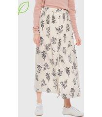 falda vero moda larga iris ankle skirt crudo - calce regular