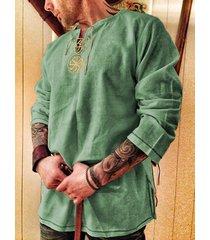 camiseta bordada de algodón de manga larga anudada con cuello en v retro para hombre soft