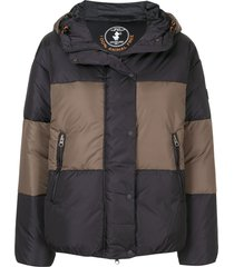 save the duck synthetic down colour-block hooded jacket - black