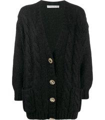 alessandra rich crystal button cardigan - black