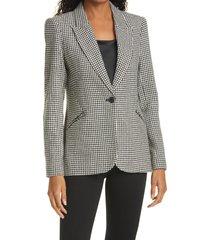 women's l'agence candra zip pocket houndstooth check blazer, size 4 - black