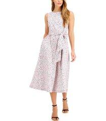 anne klein floral-printed tie-sash midi dress