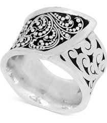 lois hill square carved wrap-look statement ring in sterling silver