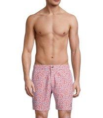 tom & teddy men's geometric swim shorts - hot coral - size xl