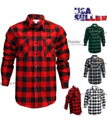mens brawny buffalo plaid flannel shirt long sleeves button-front check shirts