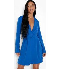 tall crêpe scuba blazer skater jurk, blue