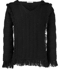 saint laurent fringe trim knitted hoodie - black