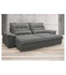 sofá bergamo 2,90m assento retrátil e reclinável velosuede grafite - netsofas