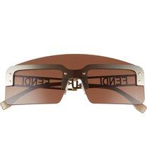 men's fendi 142mm shield sunglasses - gold/ other / brown