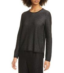 women's eileen fisher crewneck silk blend top, size small - black