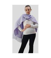 manta larga de tricot acrilico tomasini tricot outono/inverno lilás