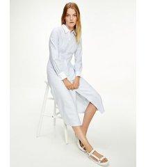 tommy hilfiger women's icon stripe midi shirt dress ithaca stripe / breezy blue - 14