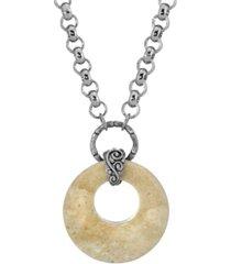2028 silver-tone semi precious round stone necklace